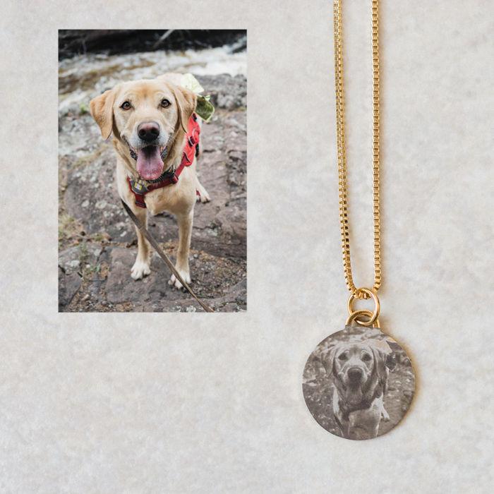 Circle Pendant Necklace - Engraved Dog Silver