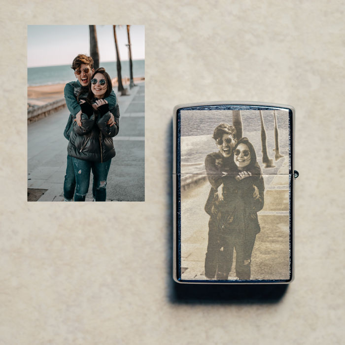 Chrome Zippo - Engraved Couple