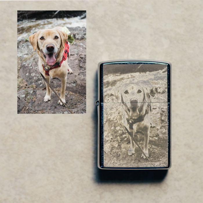 Chrome Zippo - Engraved Dog