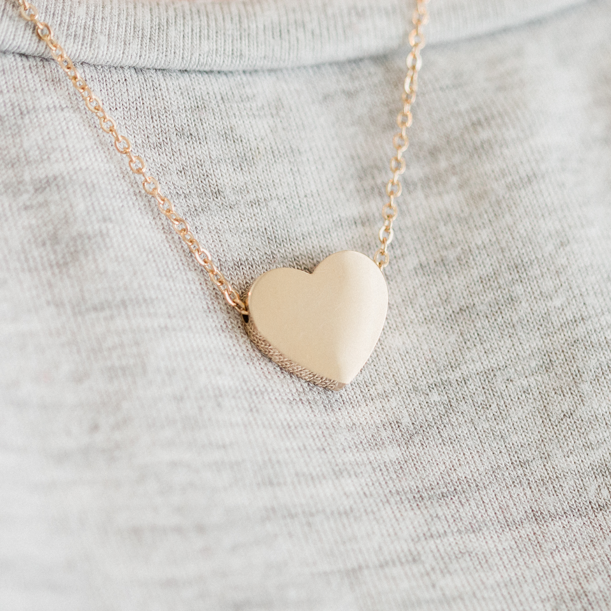 Personalized Mini Heart Necklace - Rose Gold