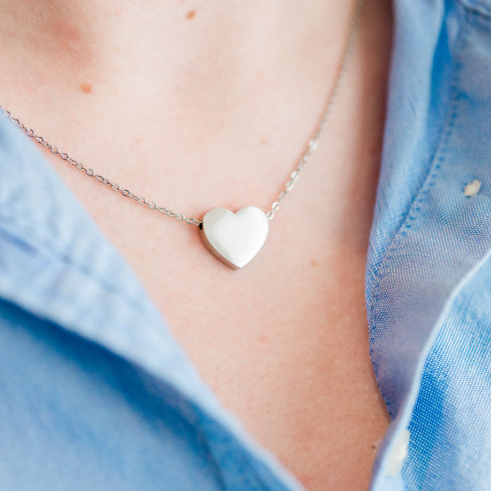 Personalized Mini Heart Necklace - Silver