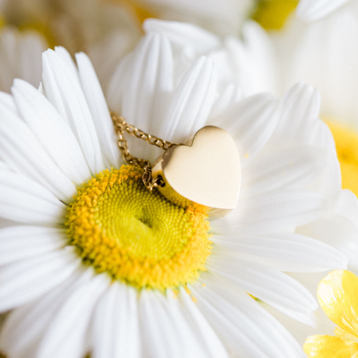 Personalized Mini Heart Necklace - Gold