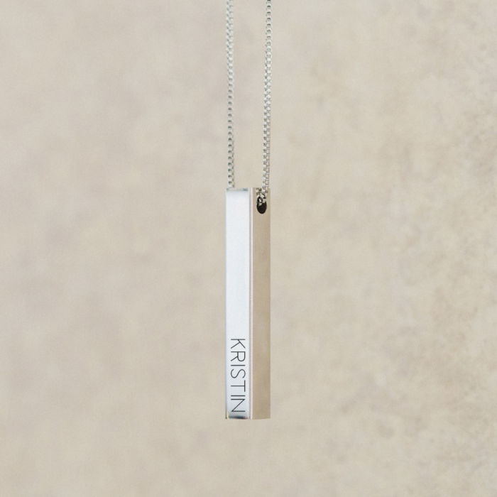 Four-Sided Name Bar Necklace