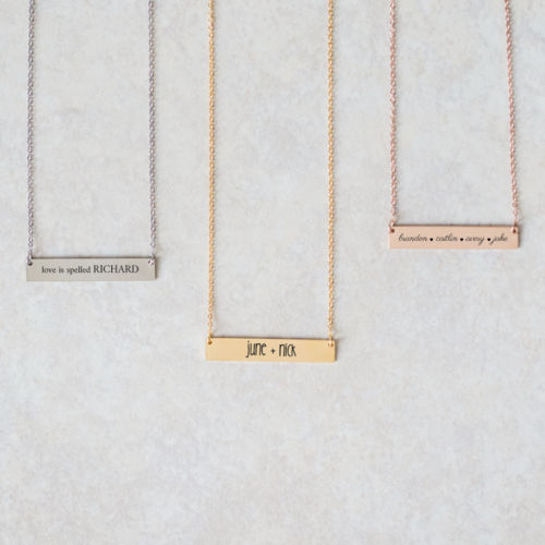 Horizontal Name Bar Necklace