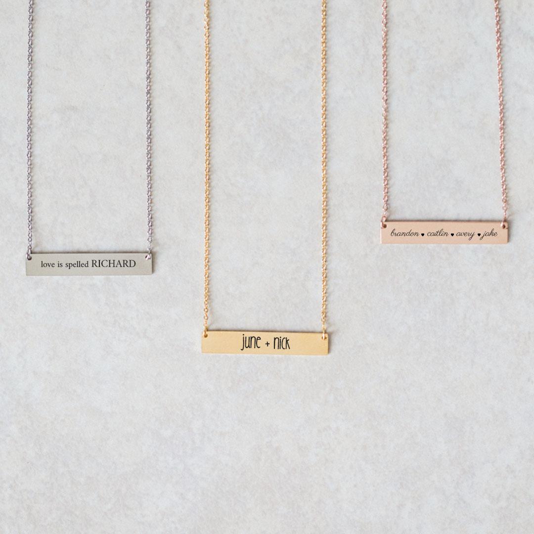 Horizontal Name Bar Necklace