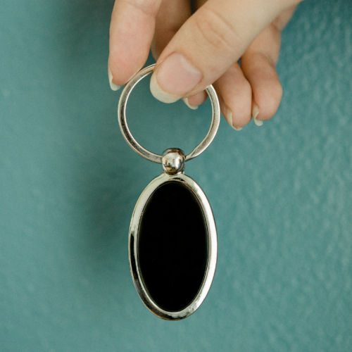 Black Oval Plate Keychain