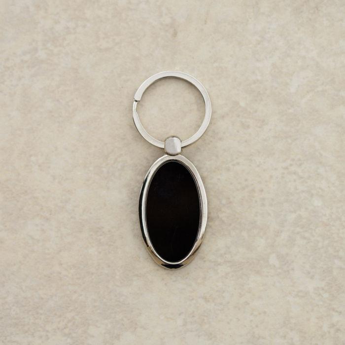 Black Oval Plate Keychain