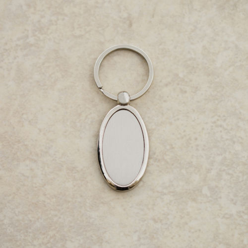 Silver Oval Plate Keychain