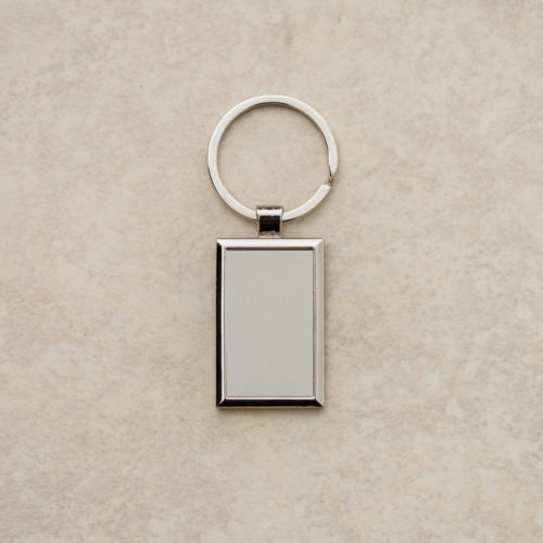 Personalized Silver Rectangle Plate Keychain