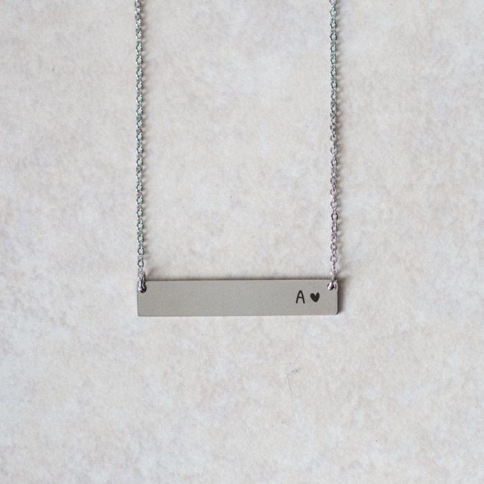 Horizontal Initial Bar Necklace