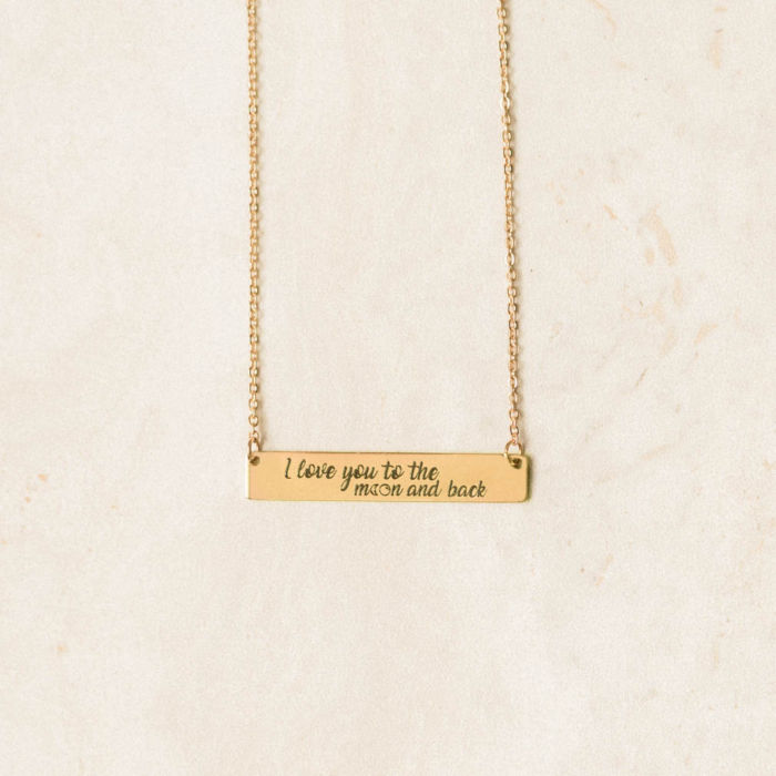 I Love You to the Moon and Back Horizontal Bar Necklace